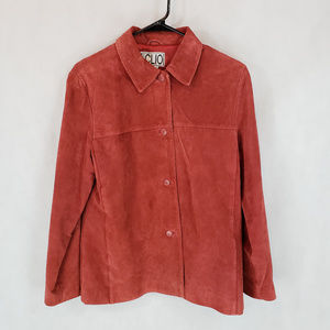 CLIO 8 Rust Suede Leather Jacket Button Collar